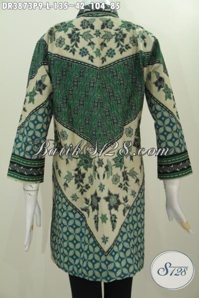 Sedia Online Dress Batik Jawa Terkini Kwalitas Bagus Dan Halus, Baju Batik Kerah Shanghai Proses Print Motif Sinaran Mewah Harga Murah, Size L