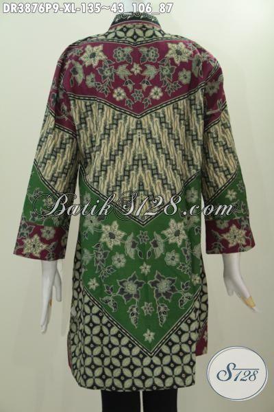 Batik Dress Motif Milo Proses Print, Baju Batik Formal Buatan Solo Model Kerah Shanghai Untuk Tampil Modis Dan Elegan, Size XL
