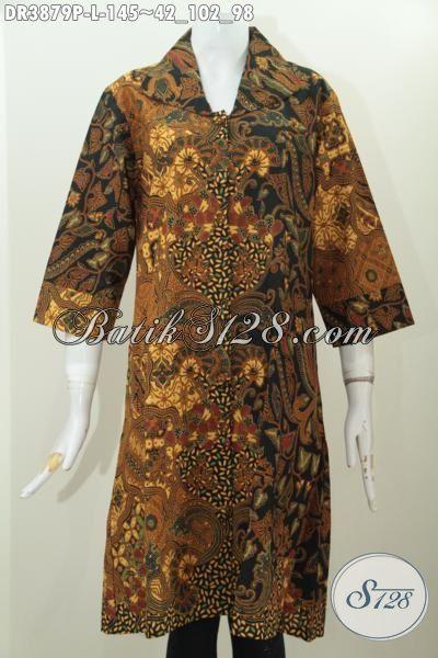 Jual Dress Batik Klasik Kerah Lebar, Baju Batik Istimewa Proses Printing Buatan Solo Bisa Untuk Kerja Dan Acara Resmi, Size L