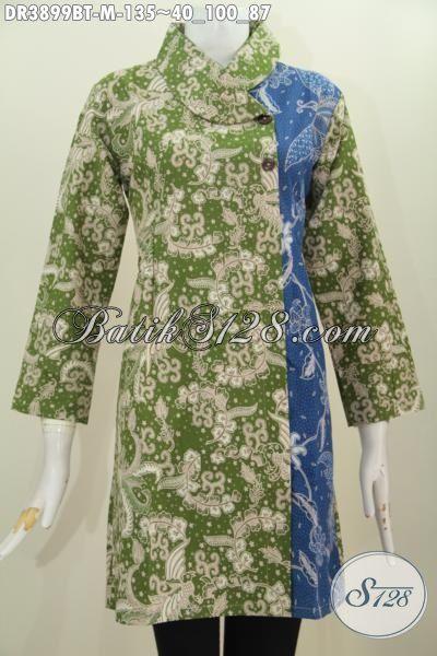Dress Batik Kerah Miring Kombinasi Dua Warna, Busana Batik Hijau Biru Motif Bagus Proses Kombinasi Tulis Pas Buat Ke Kantor, Size M