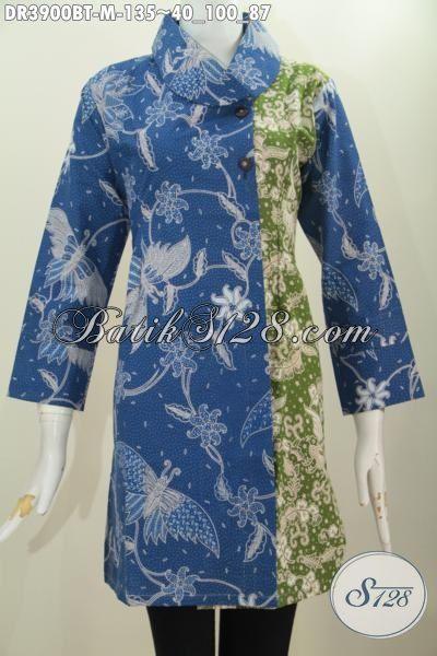 Dress Batik Dua Motif Desain Kerah Miring, Pakaian Batik Trendy Warna Biru Kombinasi Hijau Kwalitas Halus Kombinasi Tulis, Cocok Untuk Seragam Kerja, Size M