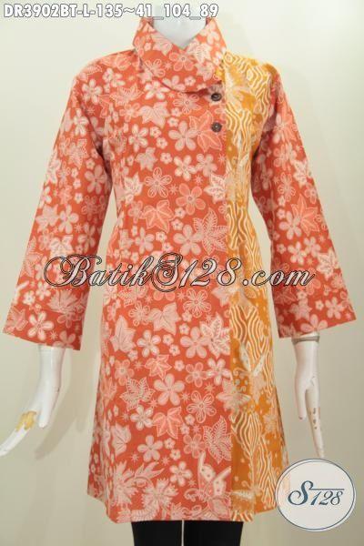 Dress Batik Orange Kombinasi Kuning Model Kerah Miring, Pakaian Batik Dua Motif Desain Paling Keren Untuk Pesta Dan Hangouts, Size L