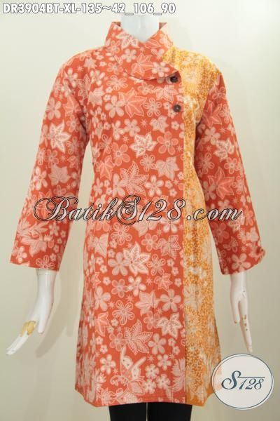Baju Dress Batik Orange Berpadu Warna Kuning Model Kerah Miring, Busana Batik Modern Kombinasi Tulis Buat Wanita Dewasa Tampil Lebih Mempesona [DR3904BT-XL]