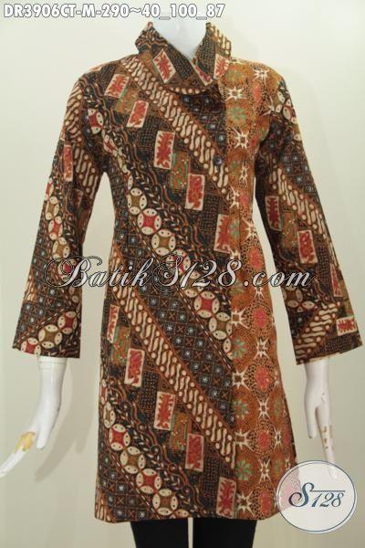 Jual Online Dress Batik Jawa Masa Kini Motif Klasik Proses Cap Tulis, Pakaian Batik Elegan Buat Rapat Modis Untuk Kondangan Proses Cap Tulis Model Kerah Miring Nan Mewah, Size M