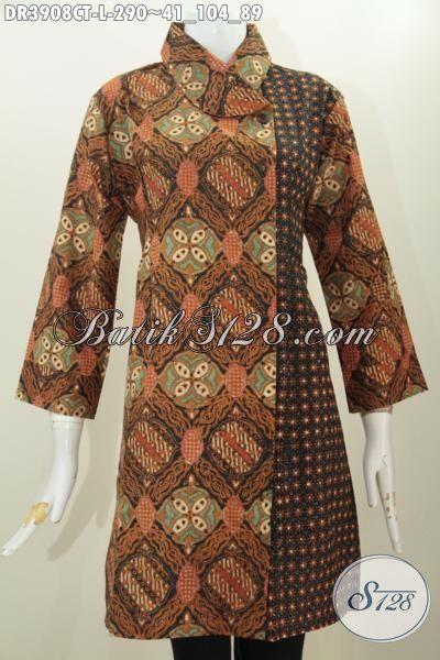 Dress Batik Model Terbaru Kerah Miring Dua Warna, Baju Batik Elegan Motif Klasik Istimewa Proses Cap Tulis Kwlaitas Halus Harga Terjangkau, Size L