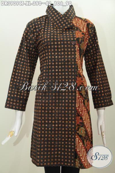 Dress Batik Kwalitas Premium Kombinasi Dua Motif Klasik, Baju Batik Kerja Wanita Karir Proses Cap Tulis Model Kerah Miring Trend Masa Kini, SIze XL