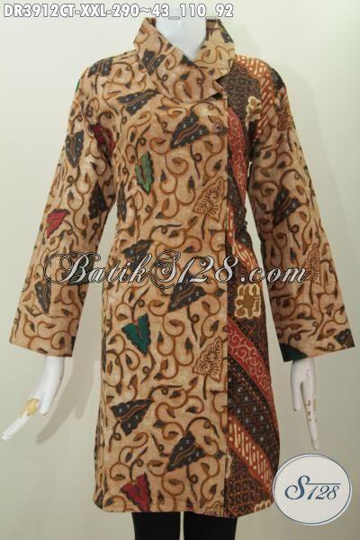 Baju Kerja Dress Batik Size XXL, Busana Batik Klasik Model Terbaru Kerah Miring Dua Motif, Pakaian Batik Jawa Etnik Cap Tulis Tampil Mewah Dan Mempesona