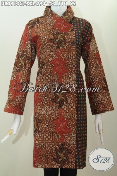 Baju Batik Perempuan Gemuk Motif Mewah Banget, Dress Batik Formal Kerah Miring Dua Motif Proses Cap Tulis Kwalitas Premium Tampil Lebih Percaya Diri [DR3913CT-XXL]