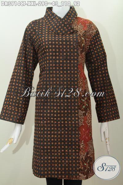 Baju Dress Batik Dua Warna Model Kerah Miring Kwalitas