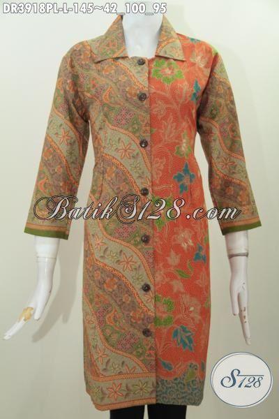 Batik Dress Istimewa Kerah Lancip Berpadu Motif Berkelas Nan Mewah, Baju Batik Wanita Karir Proses Printing Halus Tampil Makin Mempesona [DR3918PL-L]