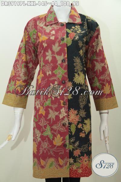 Dress Batik Desain Mewah Berbahan Halus Proses Print, Pakaian Batik Kerja Kerah Lancip Motif Terbaru Lebih Yang Berkelas Tampil Makin Modis, Size XXL
