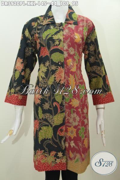 Dress Batik 3L Kombinasi Dua Warna, Baju Batik Dua Motif Model Kerah Lancip Proses Printing Tampil Modis Dan Gaya Spesial Buat Wanita Gemuk, Size XXL