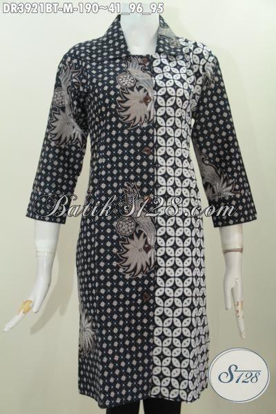 Baju Dress Klasik Dua Motif Warna Hitam Putih Busana