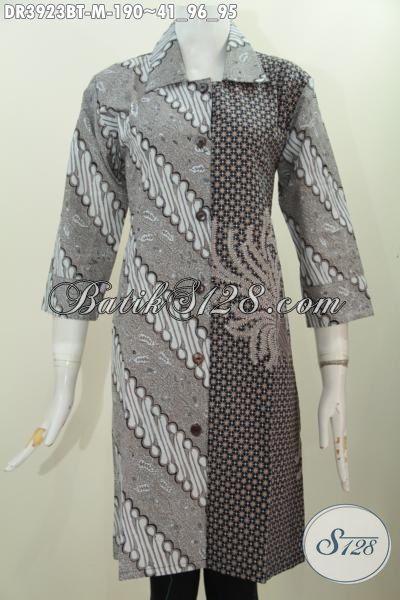 Baju Dress Klasik Dua Motif, Pakaian Batik Kerah Lancip Model Resmi Busana Elegan Buat Kondangan, Size M