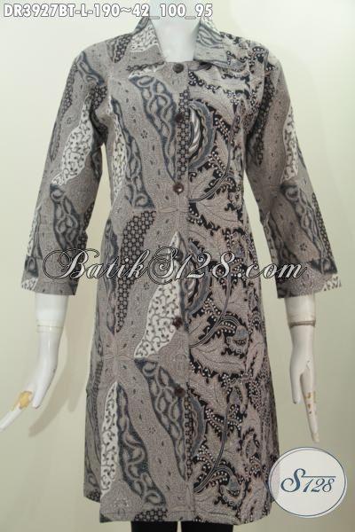 Batik Dress Elegan Motif Klasik, Baju Batik Berkelas Desain Sempurna Spesial Buat Wanita Yang Ingin Tampil Lebih Berkelas, Size L