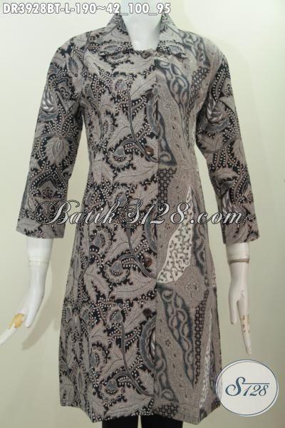 Jual Online Batik Dress Klasik Model Kerah Lancip Proses Kombinasi Tulis, Busana Batik Solo Terbaru Buat Kerja Ok Untuk Kondangan Juga Cocok [DR3928BT-L]