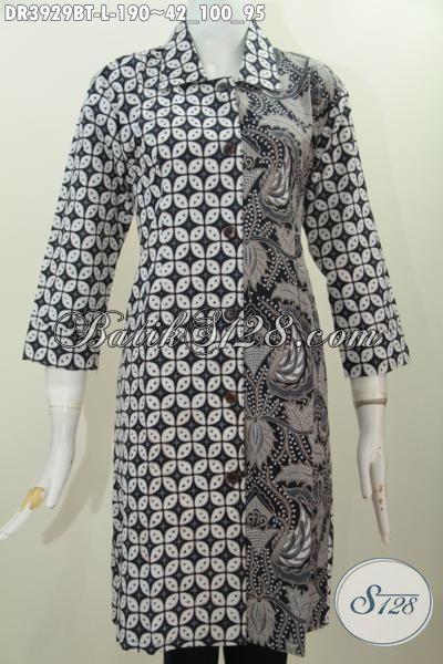 Batik Dress Klasik Elegan Model Terbaru Kerah Lancip, Busana Batik Solo Kombinasi Tulis Bikin Wanita Terlihat Lebih Berkharisma [DR3929BT-L]