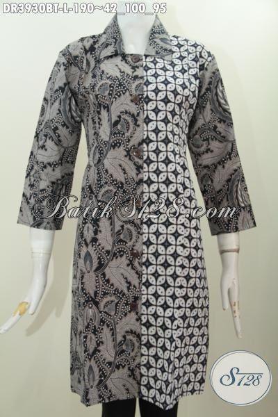 Sedia Baju Batik Jawa Etnik Nan Mewah Berbahan Halus Dengan Harga Terjangkau, Dress Batik Wanita Karir Model Kerah Lancip Tampil Terlihat Anggun, Size L