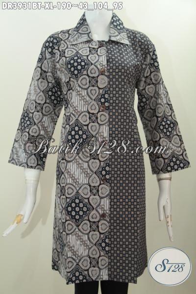 Busana Dress Wanita Model Kerah Lancip Berbahan Batik Kombinasi Tulis Motif Elegan Penunjang Peampilan Lebih Elegan, Size XL