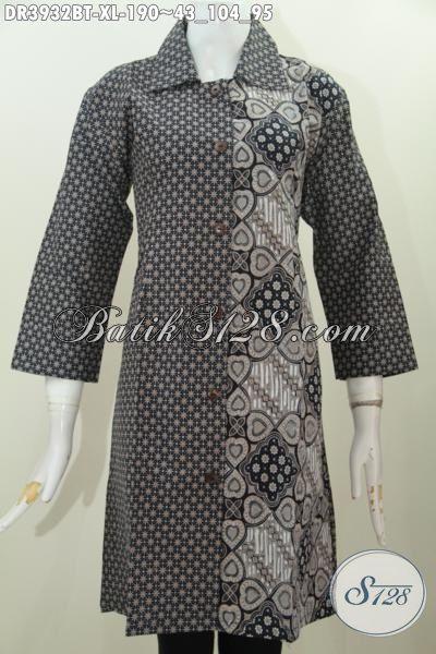 Pakaian Batik Lengan Tiga Perempat Motif Klasik Warna Elegan, Baju Batik Dress Kombinasi Tulis Asli Model Selalu Up To Date, Size XL