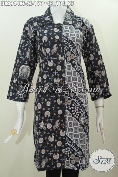 Toko Pakaian Batik Online, Jual Dress Batik Solo Klasik Elegan Kombinasi Dua Motif, Baju Batik Berkelas Kerah Lancip Cocok Untuk Seragam Kerja [DR3934BT-XL]