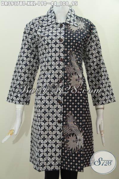 Jual Pakaian Batik Buat Wanita Gemuk, Busana Dress Elegan Dua Motif Klasik Desain Modern Proses Kombinasi Tulis Asli Buatan Solo, Size XXL