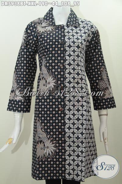 Jual Baju Batik 3L Untuk Kerja Dan Acara Resmi, Pakaian Batik Modis Motif Bagus Proses Kombinasi Tulis Wanita Gemuk Terlihat Mempesona, Size XXL