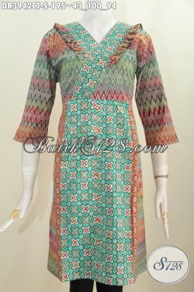 Pakaian Batik Jawa Halus Modis Trend Mode 2015, Baju Dress Trendy Model Khas Wanita Muda Kesukaan Remaja Putri Cocok Buat Hangouts, Size S