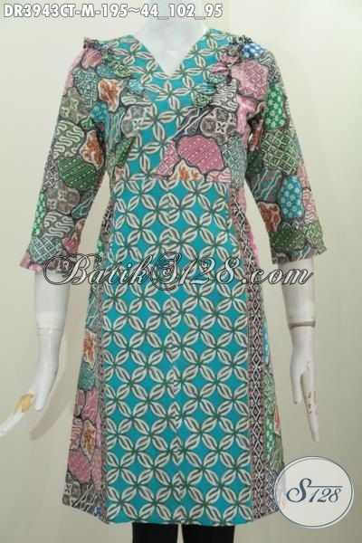 Baju Dress Batik Wanita Muda Model Terkini, Produk Pakaian Batik Istimewa Proses Cap Tulis Cocok Buat Jalan-Jalan, Size M