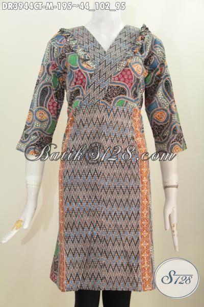 Pusat Busana Batik Online Sedia Dress Batik Desain Resleting Belakang Berpadu Motif Dan Warna Trendy Membuat Wanita Makin Mempesona, Size M
