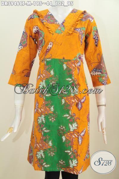 Busana Batik Dress Dua Warna, Baju Batik Santai Buat Perempuan Muda Masa Kini Proses Cap Tulis Model Resleting Belakang, Size M