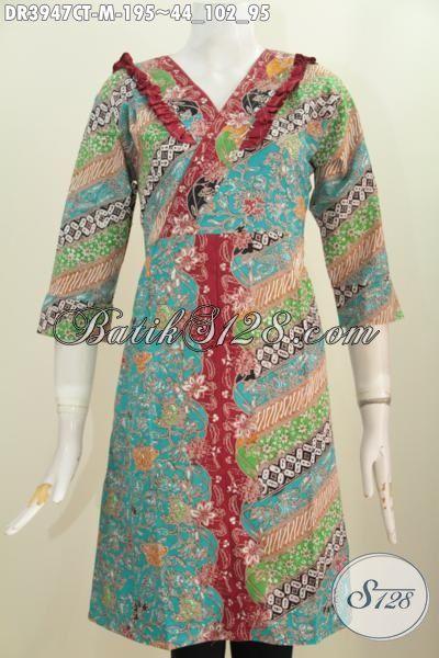 Busana Batik Modern Klasik Desain Mewah Model Resleting Belakang, Pakaian Batik Cap Tulis Istimewa Buat Wanita Muda Tampil Cantik Mempesona, Size M