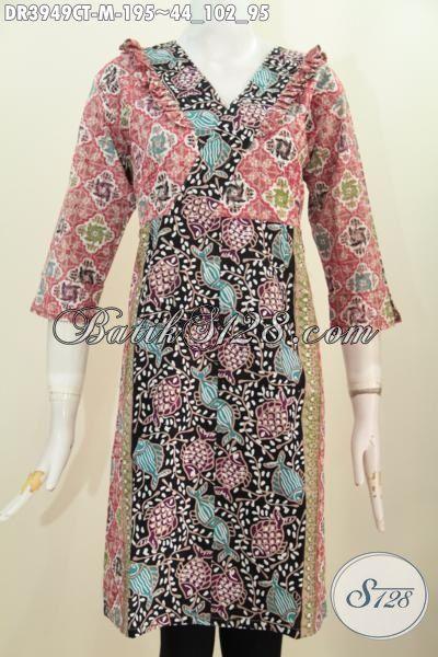 Produk Busana Cewek Terkini, Batik Dress Istimewa Dengan Desain Mewah Dan Modern Berpadu Motif Kombinasi Serta Resleting Belakang Nyaman di Pakaian Sehari-Hari [DR3949CT-M]