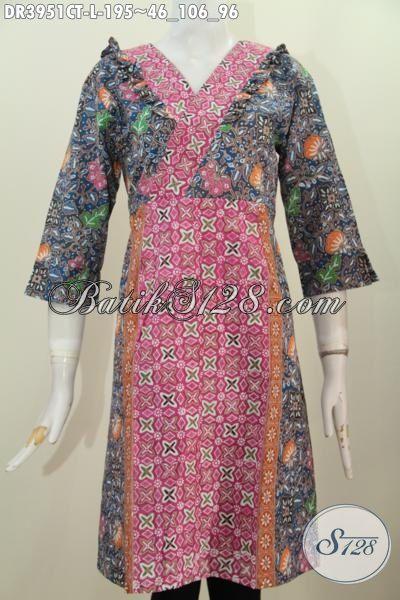 Jual Busana Batik Cap Tulis Model Dress, Pakaian Batik Modern Yang Membuat Wanita Terlihat Anggun Dan Makin Cantik, Cocok Untuk Pesta Dan Hangouts [DR3951CT-L]