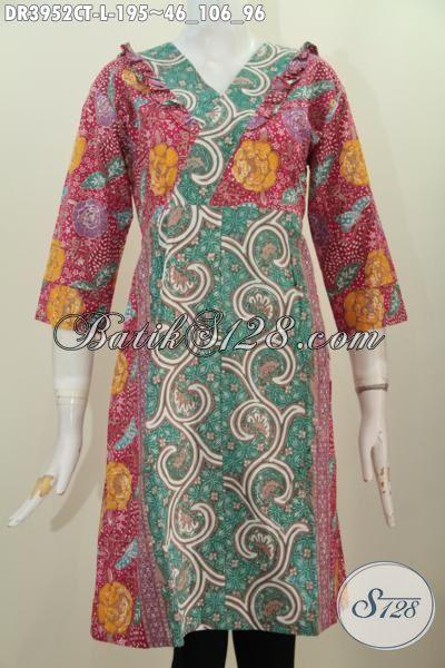 Busana Batik Fashion Yang Trendy Dan Modis Untuk Wanita, Baju Dress Modern Dua Motif Cap Tulis Desain Mewah Bikin Cewek Tambah Mempesona, Size L