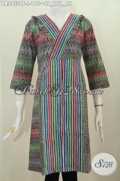 Jual Online Pakaian Batik Dress Dua Motif, Baju Batik Model Resleting Belakang Bahan Adem Proses Cap Tulis Bisa Untuk Busana Kerja, Size L