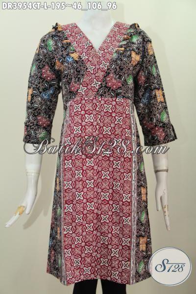 Baju Dress Modern Motif Kombinasi Dengan Desain Mewah Biki Cewek Terlihat Beda Dan Gaya, Busana Batik Cap Tulis Buatan Solo Kwlaitas Bagus Harga Terjangkau [DR3954CT-L]