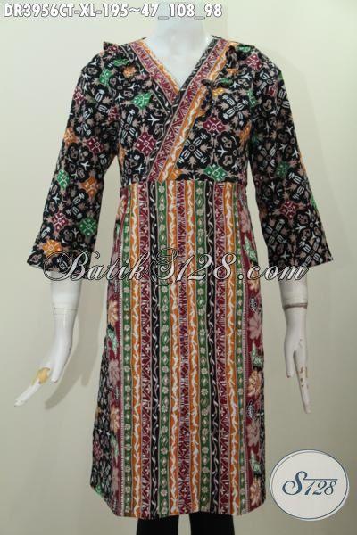 Baju Batik Perempuan Dewasa, Busana Dress Bahan Batik Cap Tulis Kombinasi Dua Motif Model Istimewa Dan Fashionable, Bisa Untuk Kerja Dan Hangouts, Size XL