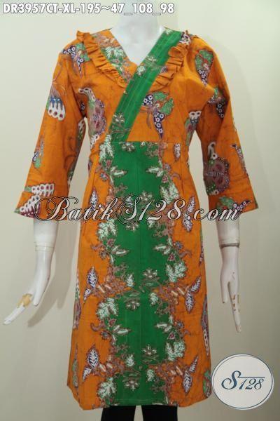 Baju Batik Trendy Dua Warna, Busana Batik Perempuan Dewasa Proses Cap Tulis Dengan Model Keren Untuk Tampil Terlihat Anggun Dan Modis, Size XL