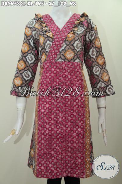 Jual eceran Harga Grosir Busana Batik Dress Wanita Dewasa Ukuran XL, Produk Baju Batik Terbaru Kombinasi Dua Motif Cap Tulis Lebih Gaya Dan Keren