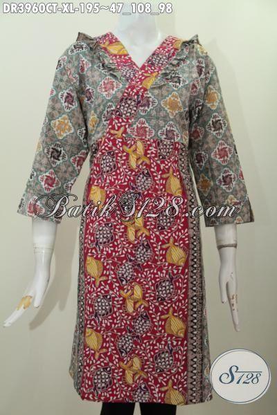 Baju Batik Dress Dua Motif Desain Mewah Dengan Resleting Belakang, Pakaian Batik Wanita Karir Tampil Beda Dan Beragaya Proses Cap Tulis, Size XL