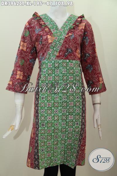 Pusat Upgrade Fashion Batik Wanita Online, Sedia Dress Model Resleting Belakang Berpadu Desain Modern Nan Mewah Serta Bahan Kwalitas Bagus Yang Nyaman Di Pakai [DR3962CT-XL]