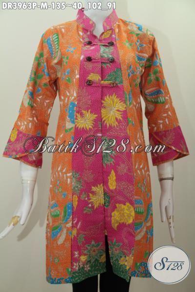 Baju Dress Solo Dengan Warna Cerah Mewah Model Kerah Shanghai Yang Trendy Untuk Wanita Muda Terlihat Makin Anggun, Baju Batik Printing  Halus Harga Murah, Size M