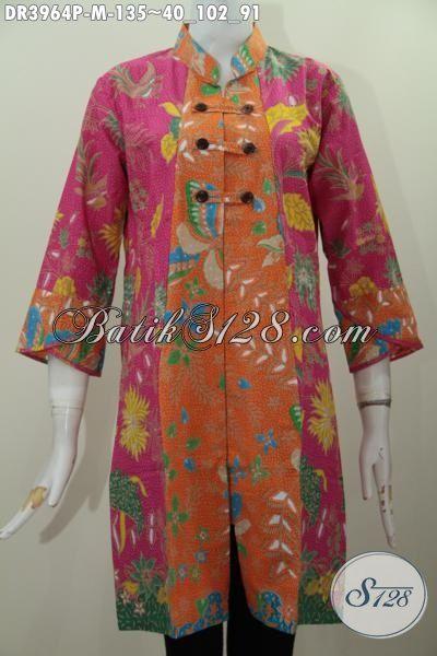 Busana Batik Kerah Shanghai, Pakaian Batik Variasi Kancing Depan Yang Modis Dan Fashionable, Berbahan Halus Proses Printing Tampil Makin Gayam, Size M