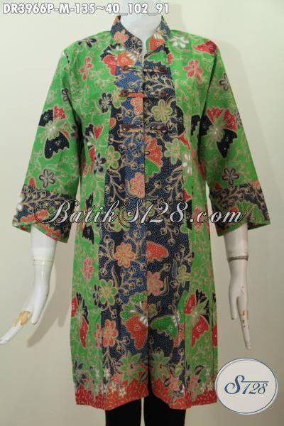 Dress Batik Oriental Kerah Shanghai Berbahan Bagus Harga Murah, Baju Batik Motif Bunga Dan Kupu Proses Printing, Pas Banget Untuk Hangouts, Size M