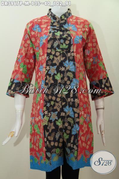 Busana Batik Dua Motif Desain Premium Motif Keren Proses Printing, Dress Batik Solo Masa Kini Untuk Tampil Gaya Dan Berkharisma, Size M
