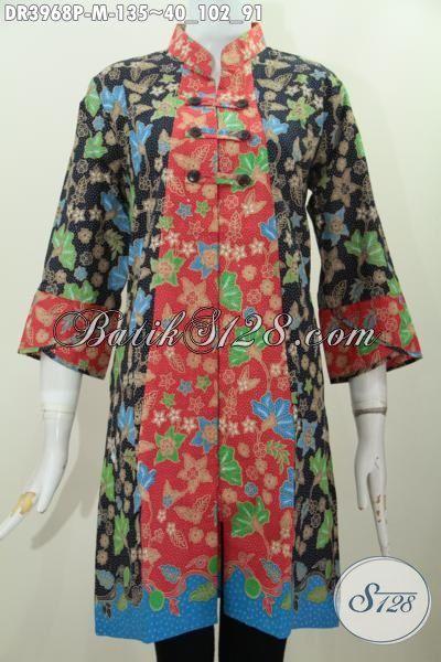 Busana Dress Trendy Motif Bunga Model Kerah Shanghai, Baju Batik Perempuan Masa Kini Buatan Solo  Kwalitas Mewah Harga Murah, Size M