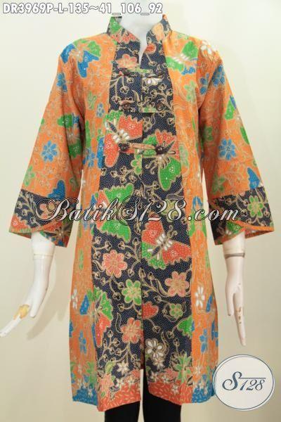 Dress Batik Bunga Dan Kupu Trend Mode Busana Cewek Masa Kini, Pakaian Batik Kerah Shanghai Dengan Variasi Kancing Depan Cocok Buat Resmi Dan Santai, Size L