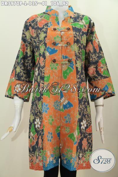Baju Batik Kerah Shanghai Variasi Kancing Depan Dress