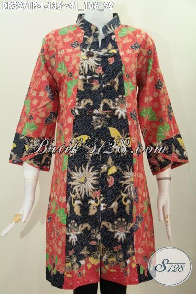 Busana Batik Dua Warna Motif Terkini, Baju Batik Model Dress Berkelas Kerah Shanghai Cocok Buat Perempuan Modern Tampil Beda Dan Bergaya, Proses Printing Ukuran L